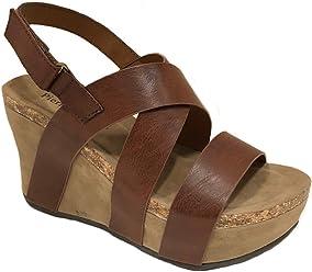 587b7ca2df Pierre Dumas Women's Hester-5 Vegan Leather Strappy Wedge Sandals