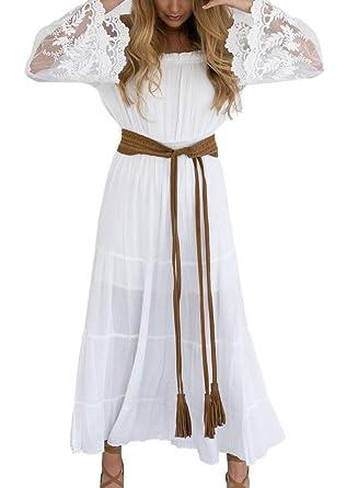 6456ba56e0c48 YiyiLai Robe Longue Femme Dentelle Broderie Eté Epaule Nue Manche Evasée  sans Ceinture: Amazon.fr: Vêtements et accessoires