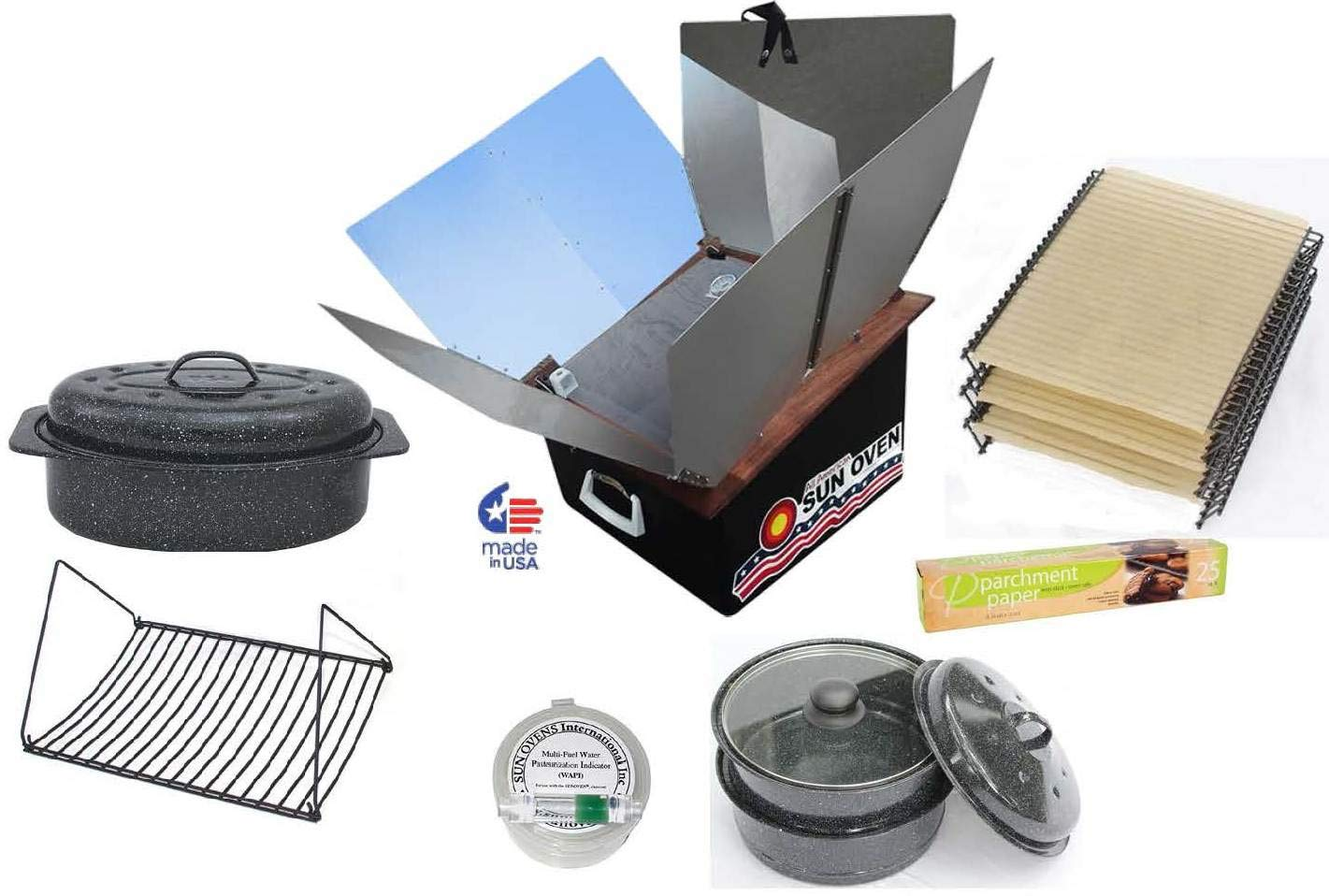 All American Sun Oven Christmas Package-The Ultimate Solar Appliance with Christmas Roasting Combo Everything for Roasting,Cooking,Dehydrating and Being Prepared,EasyStack Pots,Enamel andGlass Lids