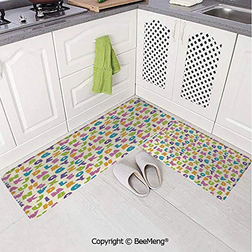 2 Piece Indoor Modern Anti-Skid Carpet Printed Block Bathroom Carpet,Kids,Cute Funny Letters in Lively Colors Cartoon Style ABC Alphabet on Polka Dots Backdrop Decorative,Multicolor,20x31in,20x59in