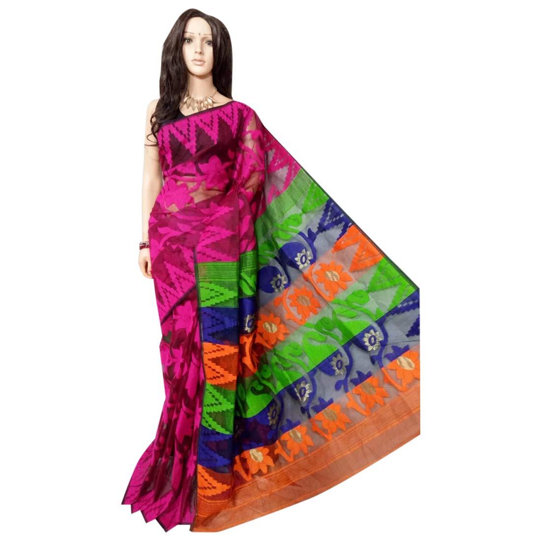 Indian Saree Ethnic Multicoloured dhakai jamdani Designer Collection Sari Party Formal Women Wear 104a