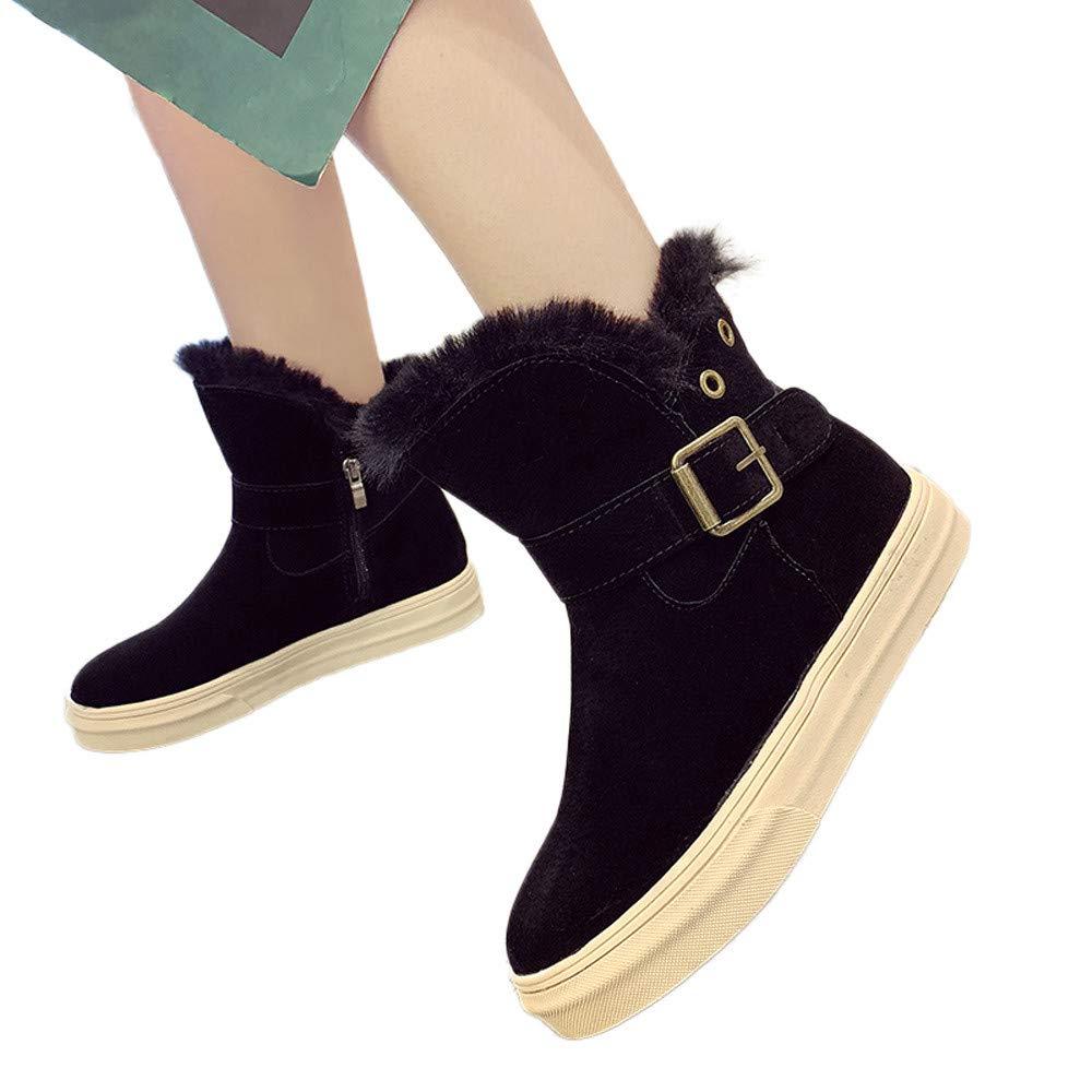 Toamen Botas Calientes De Leopardo Para Mujer Botas De Nieve Hebilla De Correa Plana Con Zapatos De AlgodóN: Amazon.es: Ropa y accesorios