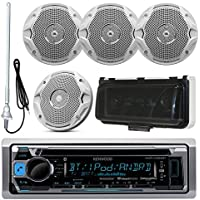 Kenwood MP3/USB/AUX Bluetooth Marine Boat Yacht Stereo Receiver CD Player Bundle Combo With 4x JBL MS6510 6.5 2-Way Speakers, Scosche Waterproof Stereo Cover = Enrock 22 Radio Antenna