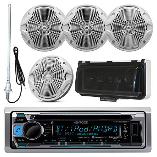 Kenwood MP3/USB/AUX Bluetooth Marine Boat Yacht Stereo Receiver CD Player Bundle Combo With 4x JBL MS6510 6.5