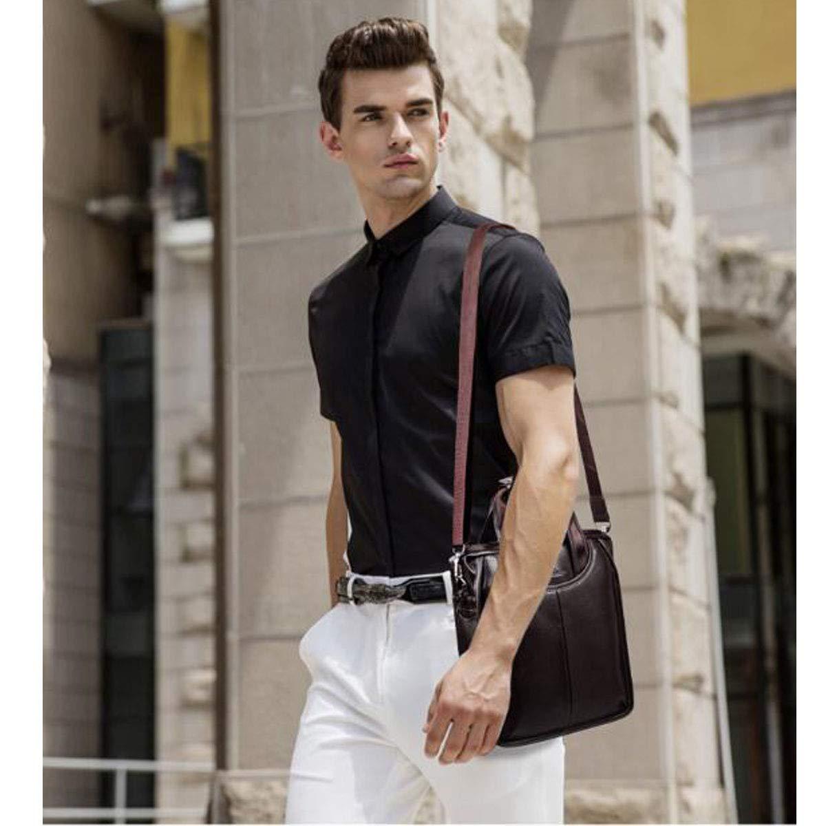 Portable Large-Capacity Leather Mens Bag Brown Yougou01 Briefcase Size: 279.531cm Quality Assured Color : Brown New Boutique Mens Handbag