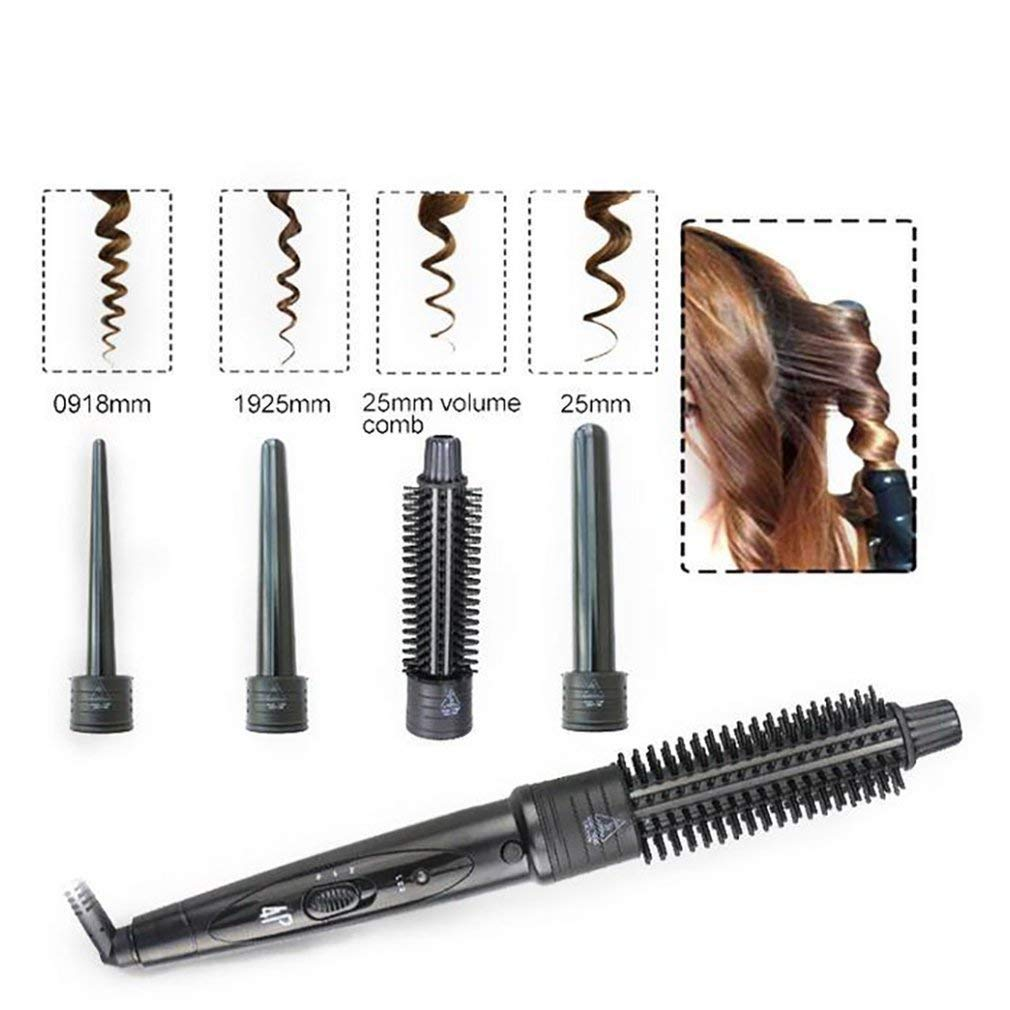 Hair Curler, 4 in 1 Curling Wand Set with Temperature Control Professional Hairdressing Artifact Ceramic Perm Stick Change Comb for Woman by yahogo (Image #2)