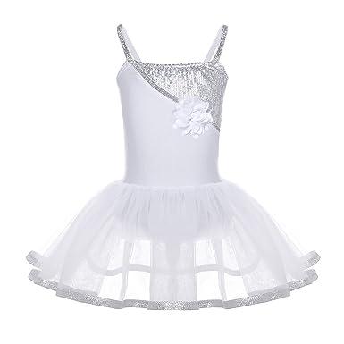 iiniim Enfant Fille Justaucorps Gym Latine Ballet Danse Classique Tutu  Léotard Blanche Paillettes Brillant Robe à 0642ad36958