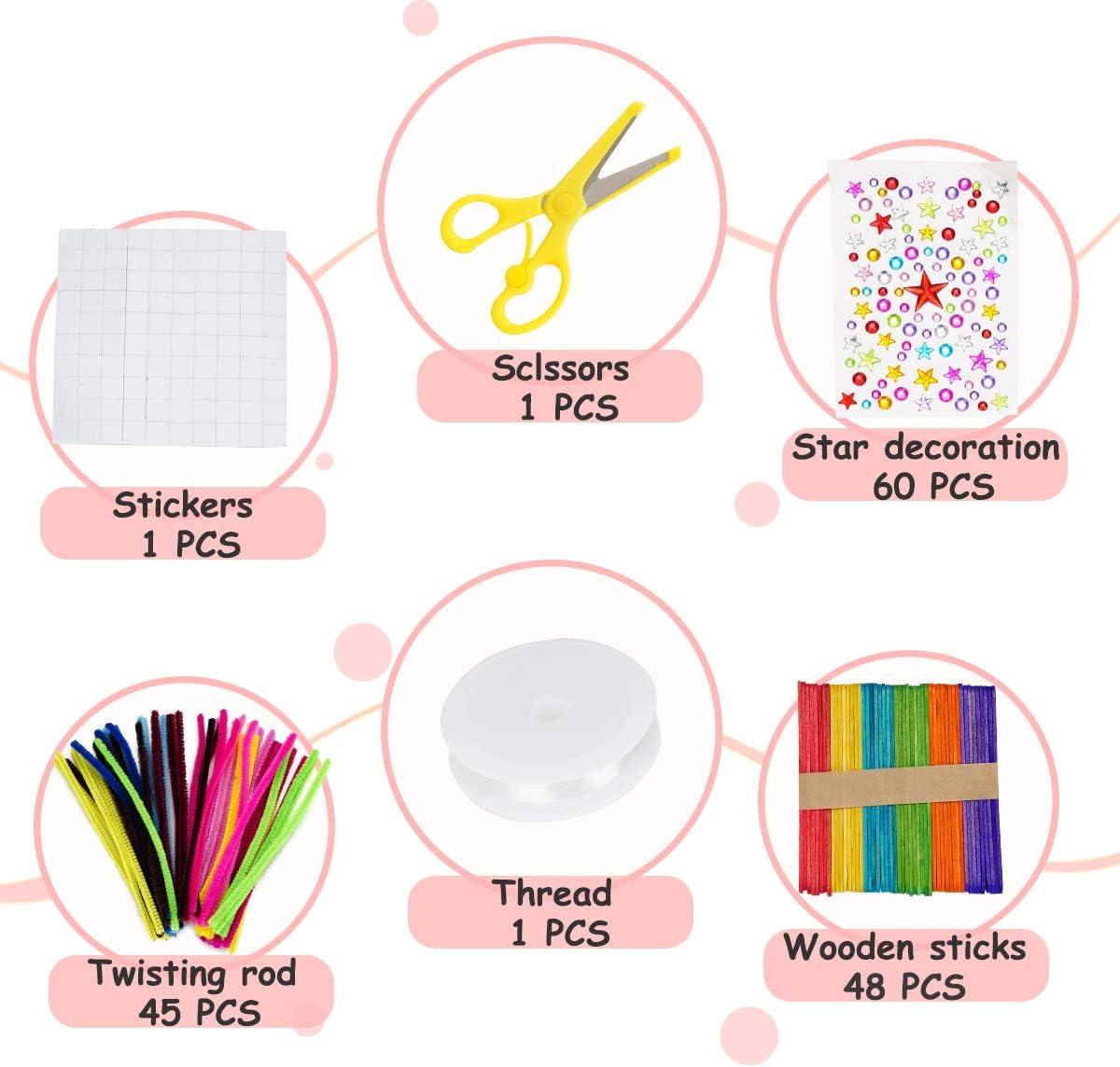 Plumas Cuentas Colores Purpurina Locisne Kit Creativo Suministros para Manualidades para ni/ños decoraci/ón Estrellas Que Incluye palitos para Mermelada Papel