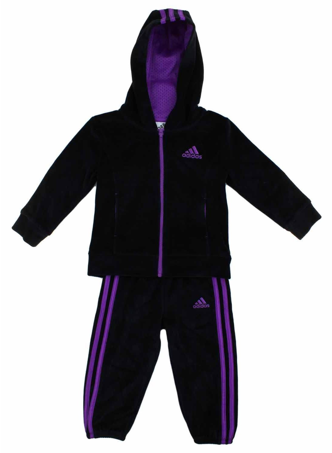 adidas Girls 2 Piece Jacket Pants Velor Tracksuit Set