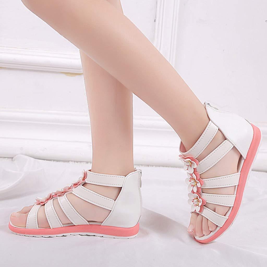 Cloudro Kid Little Girl Flat Sandals Flower Ankle Wide Strap Sandal with Back Zipper