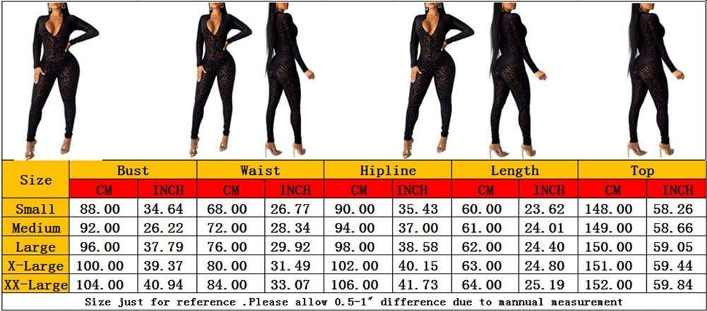 Tuta A Rete da Donna Scollo A V Profondo Pizzo Leopardato Vedere Attraverso Pantaloni Lunghi Increspati con Volant Bodycon Pagliaccetti Clubwear