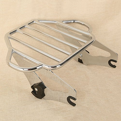 XMT-MOTO Chrome Detachable Two Up Tour Pak Mounting Luggage Rack fits for Fits 2009-2018 Harley Davidson Touring models equipped with a 4-Point Docking Hardware Kits