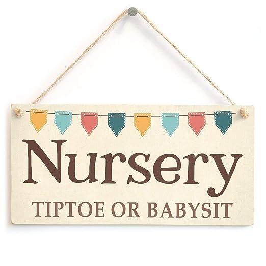 Shunry Nursery Tiptoe Or Babysi Colgar en la Pared Letrero ...