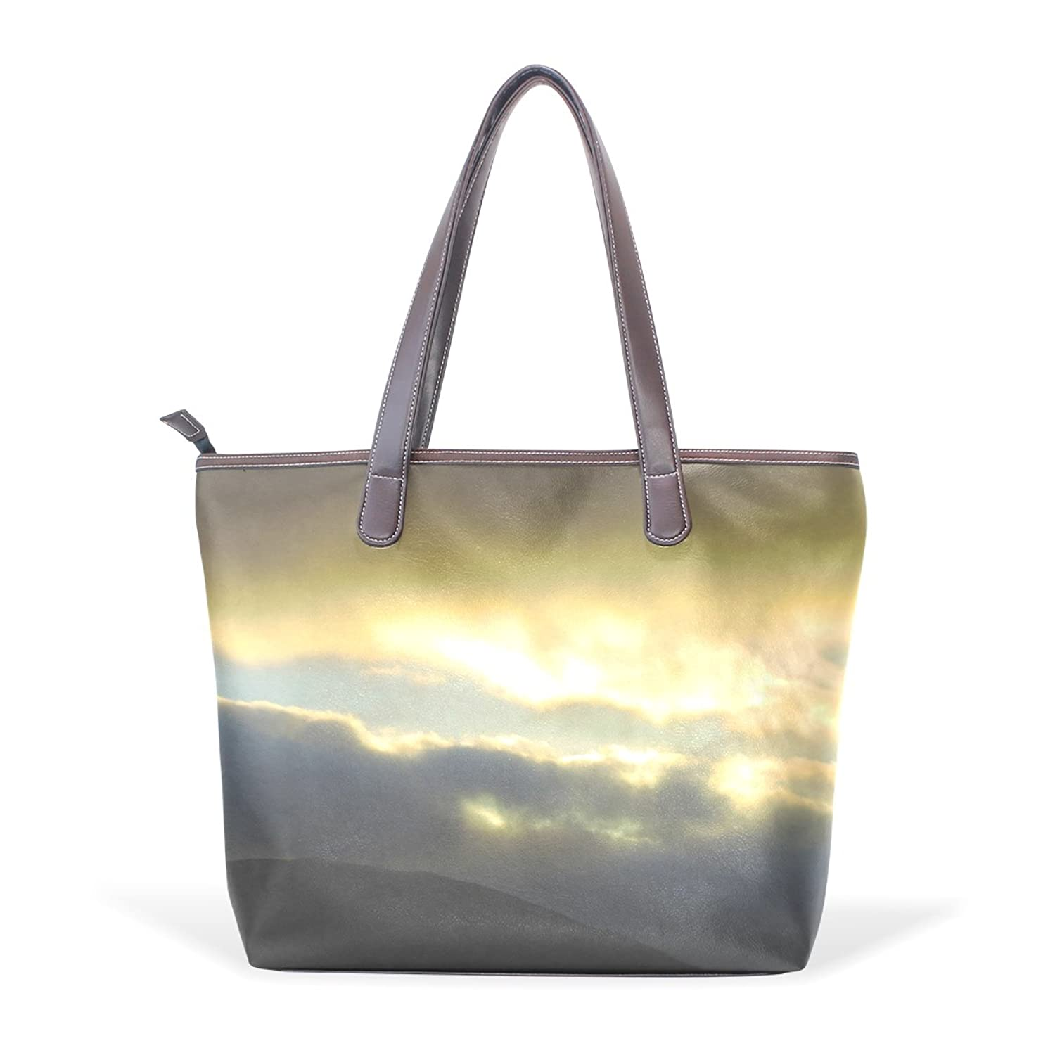 LONG S - G Beyond The Clouds PU Leather Shopping Tote Bag Zipper Bag Shoulder Bag