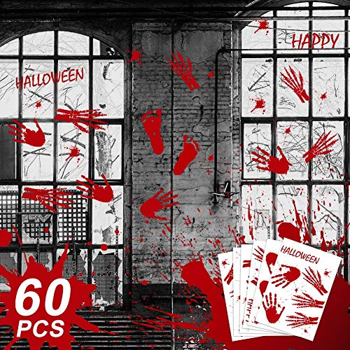 Aytai Clearance 60pcs Halloween Bloody Handprint Footprint Sticker Scary Bloodstain Window Clings Decals for Halloween Party Decoration]()