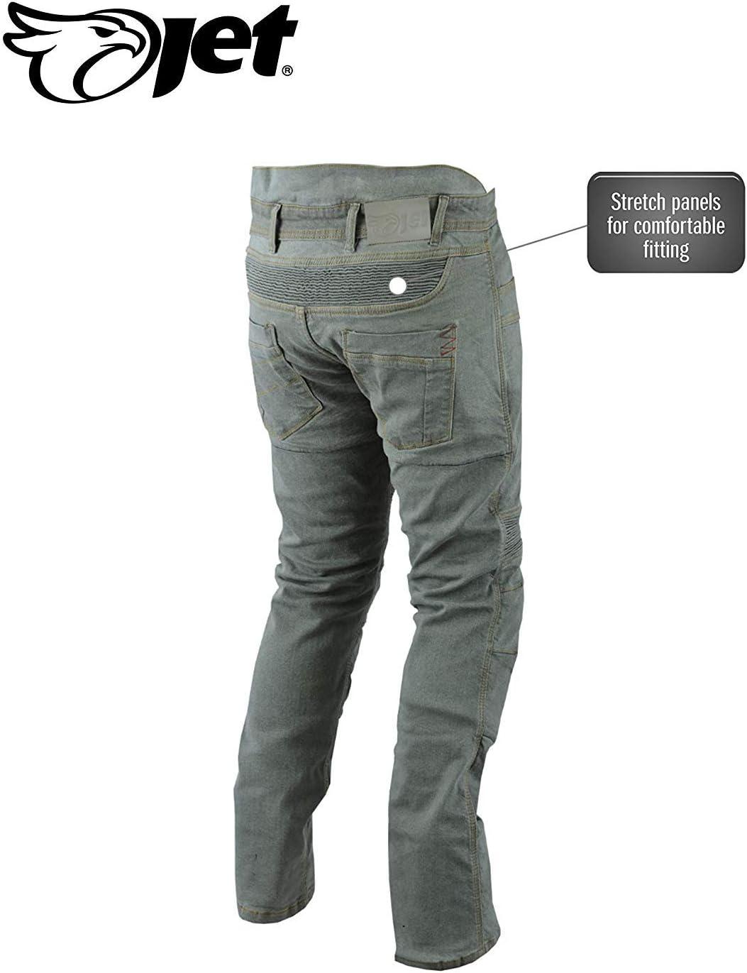 Gris, UK W44 L32 // EU 60 Regular Jet Pantalon Moto Homme Jeans Kevlar Aramid avec Armure Tech Pro