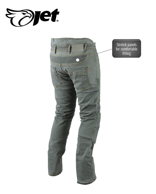 Bleu, UK W46 L34 // EU 62 Long Jet Pantalon Moto Homme Jeans Kevlar Aramid avec Armure Tech Pro