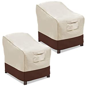 Vailge Patio Chair Covers, Lounge Deep Seat Cover, Heavy Duty and Waterproof Outdoor Lawn Patio Furniture Covers (2 Pack - Small, Beige & Brown)