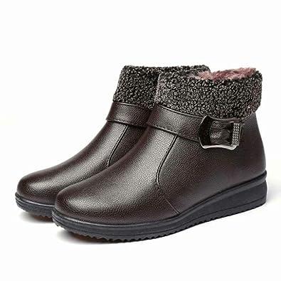 7ce9d4eb4e1 Amazon.com | Elsa Wilcox Women's Buckle Strap Pu Leather Warm Fur ...
