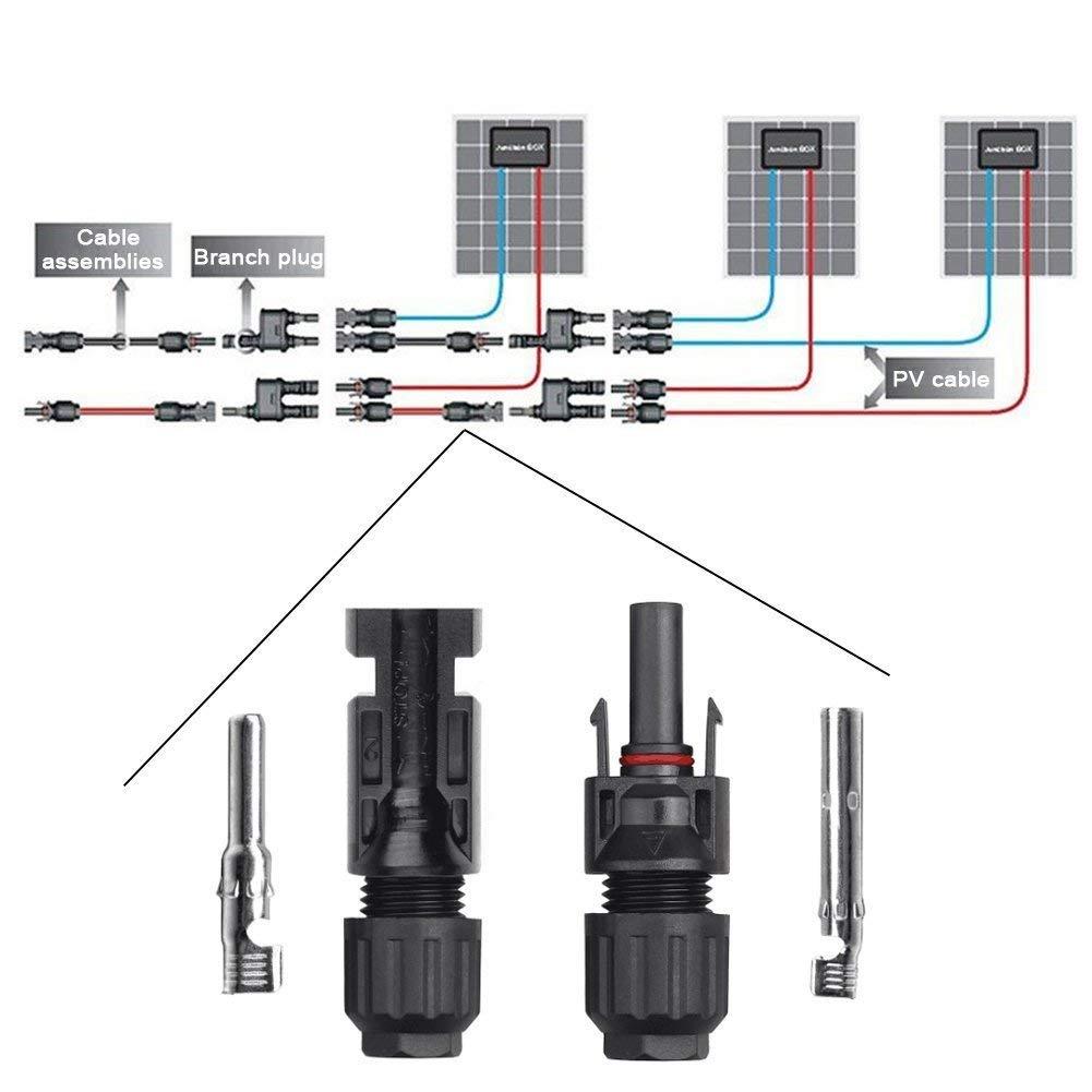 Connecteur PV MC4 M/âle GTIWUNG 8 Paires Connecteur MC4 Connecteur Solaire Photovolta/ïque AVCE Cl/és Hexagonales Femelle pour Panneaux Solaires Cable Accessoires Noir