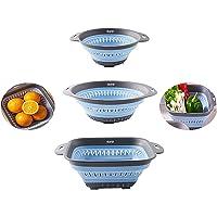 DLD Colador plegable Colador Colador para verduras y frutas con asas extensibles, colador plegable para cocina, 3 piezas…