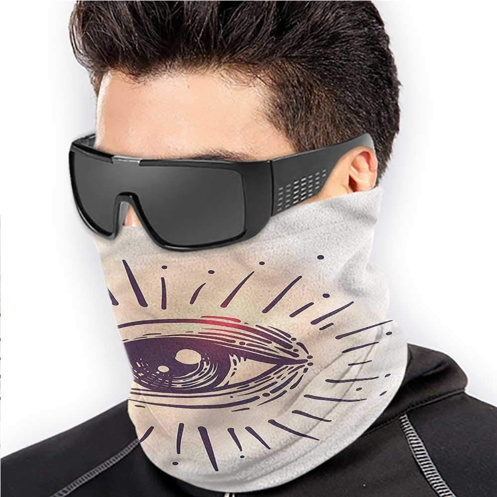 Eye Face Shields Scarf Gaze of an Elderly Man Art Color Printed Scarf Lightweight Windproof Breathable