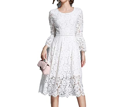 Green Lace Dress Elegant A-line Dress Flare Sleeve White Party Dresses Hollow Out Vestidos