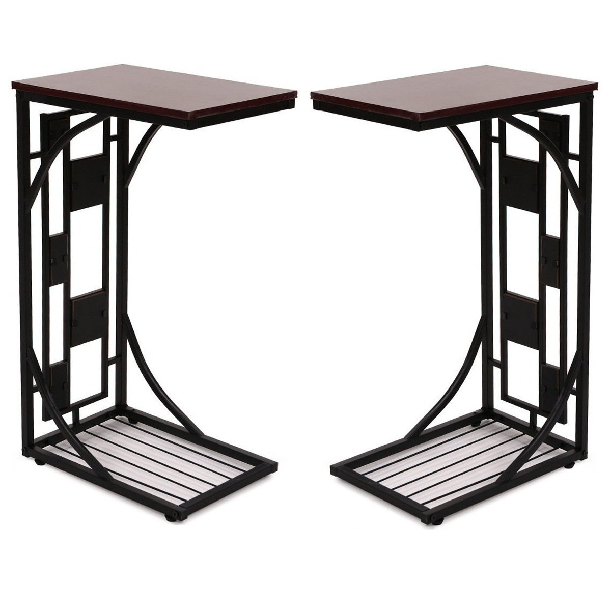 2 Pcs C shaped Side Sofa Table Coffee Tray Stand