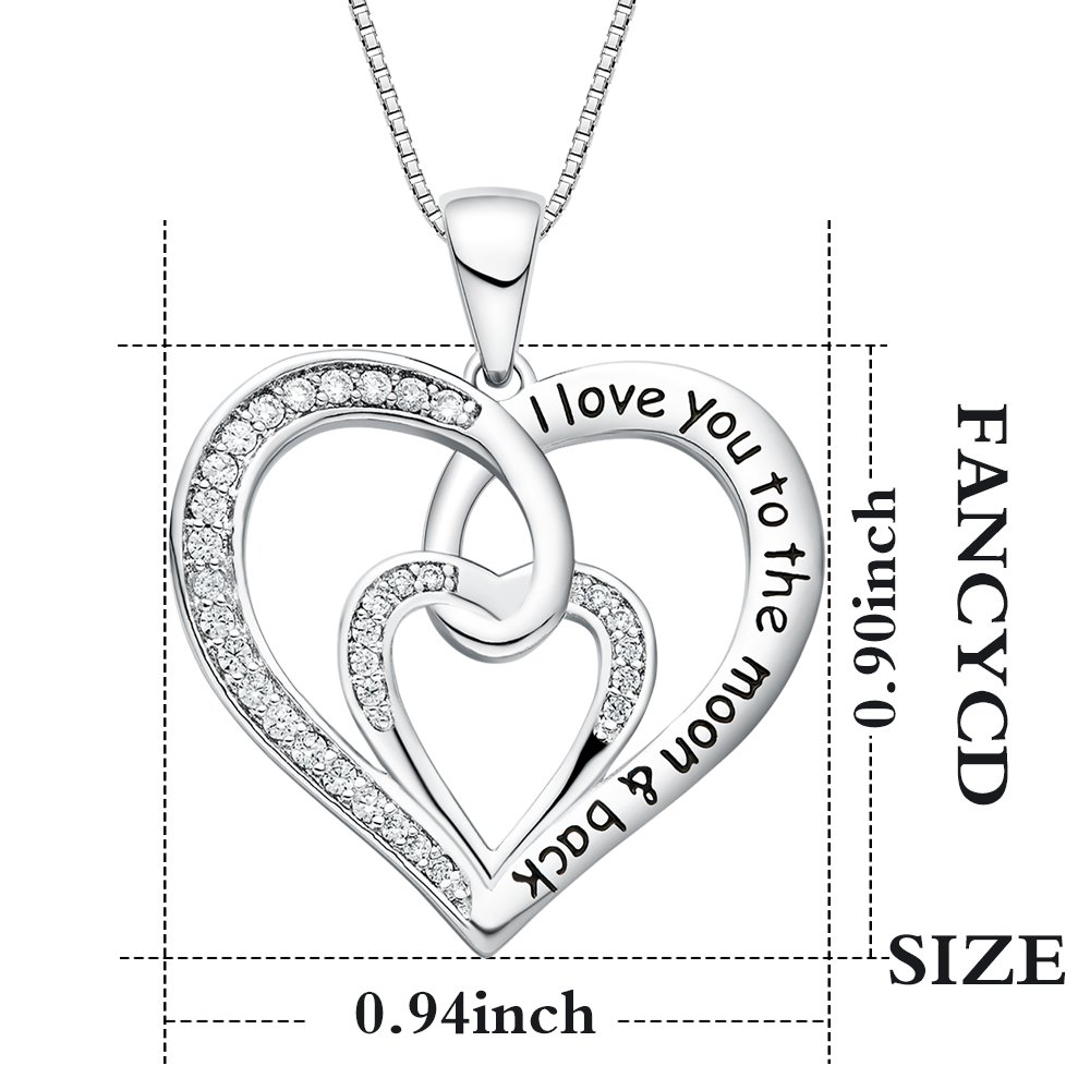FANCYCD I Love You to the Moon and Back Love Heart Necklace, 18'', Jewelry for Women & Girls, Special Gifts for Girlfriend, Wife, Sister, Aunt, Grandma, Mom by FANCYCD (Image #5)