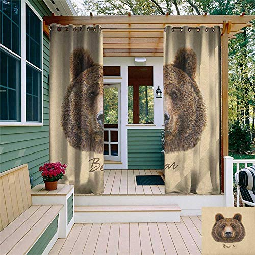leinuoyi Bear, Outdoor Curtain Extra Wide, Big Bear of North America and Eurasia Realistic Strong Wildlife Beast Zoo Animal, for Patio Waterproof W120 x L96 Inch Brown Sand Brown