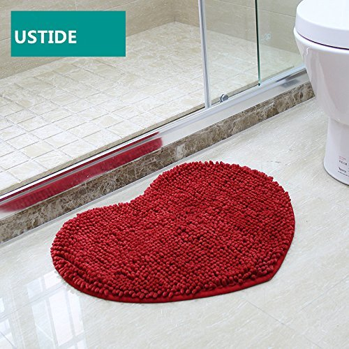 Ustide Pink Heart Shaped Rugs Shaggy Chenille Area Rugs
