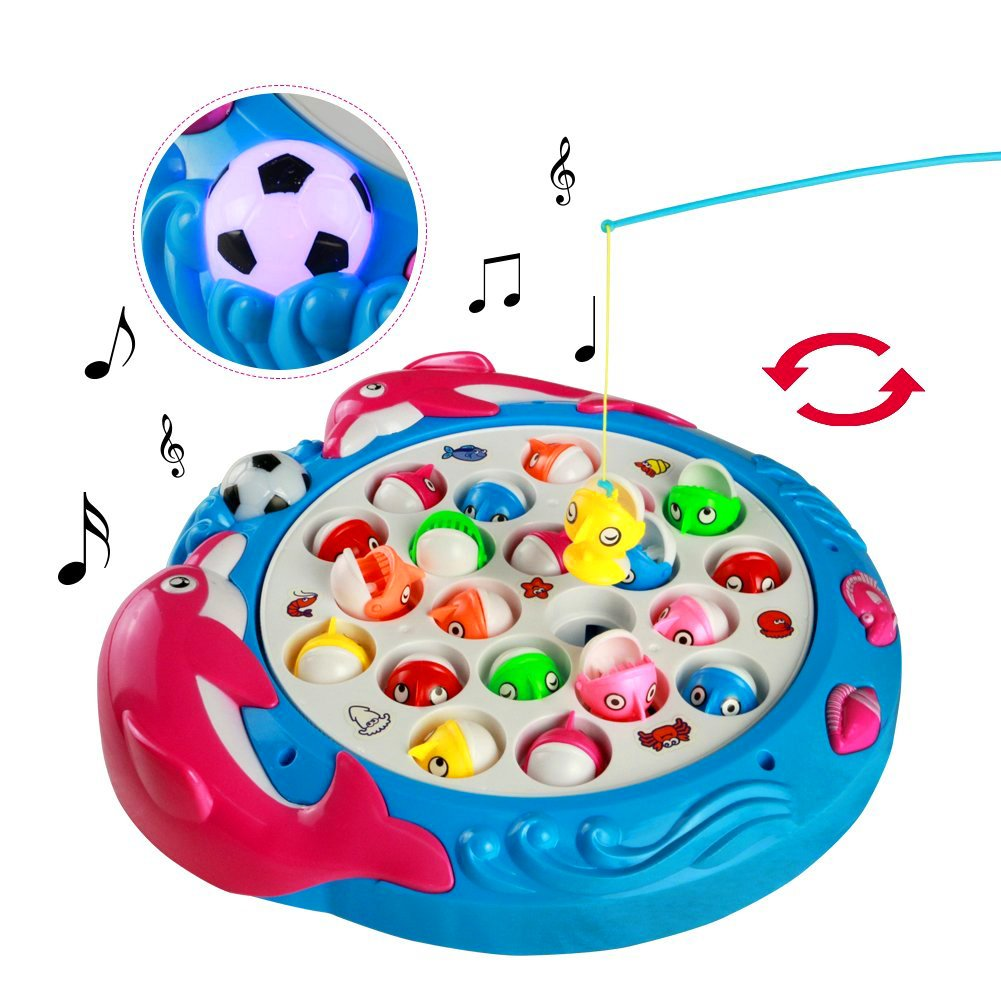 Fishing Game Electronic Fish Board Game Educational Fishing Toys with Music Great Gift for Kids Children 3 4 5 Years Old