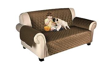 Wishdeal - Funda de sofá para Mascotas, Cama para Perro, con Correa elástica, Impermeable, para sofá o Cama, marrón, Three Seater: Amazon.es: Hogar
