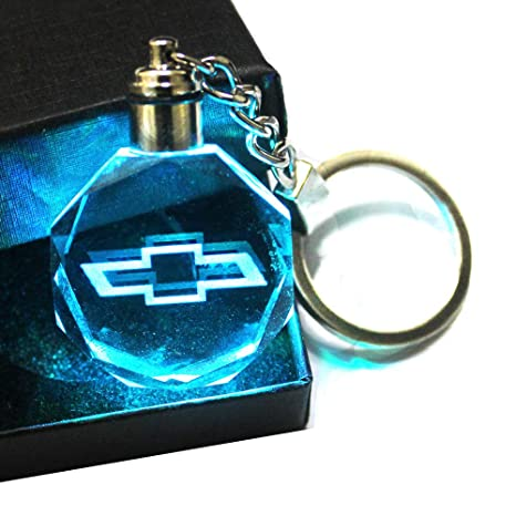 VILLSION Auto Audi Llavero Accesorios Coche Llavero Logo LED Colorido Cristal Luz Incluye Caja de Regalo