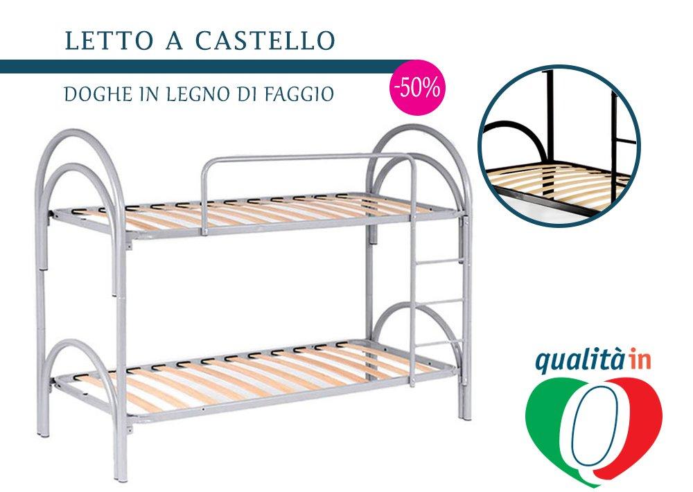 Telaio Interamente in Ferro Completa di Piedi 80x190 Singola ValoreItalia Rete A DOGHE per Letto