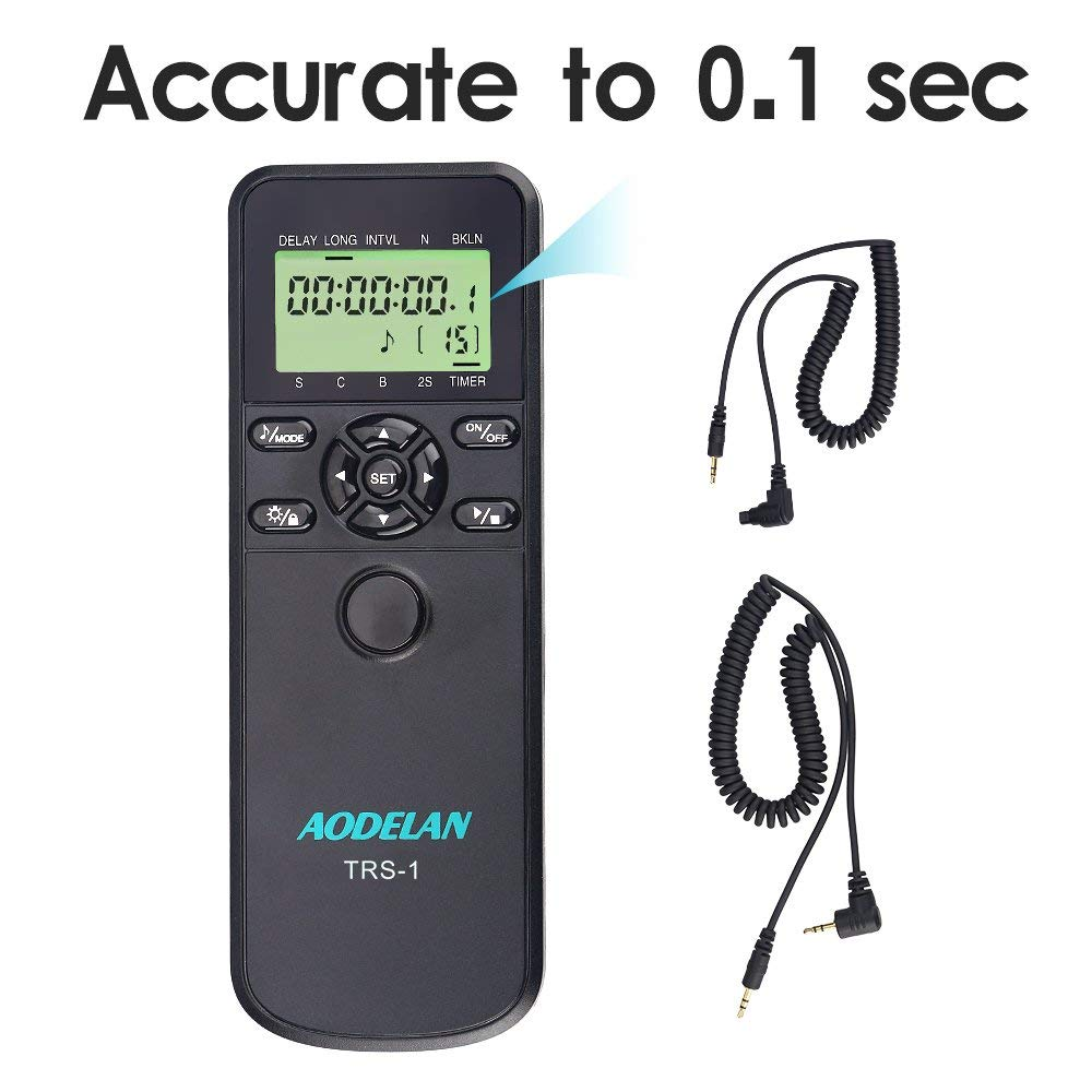 D600 D4 D7200 MC-30A D3300; Replace MC-DC2 D3100 D700 AODELAN TRS-1 Shutter Release Timer Remote Control for Nikon Z7 D5 D4s D810 D5000 Coolpix P1000 D850 Z6 D750 MC-36 D500 D610 D3