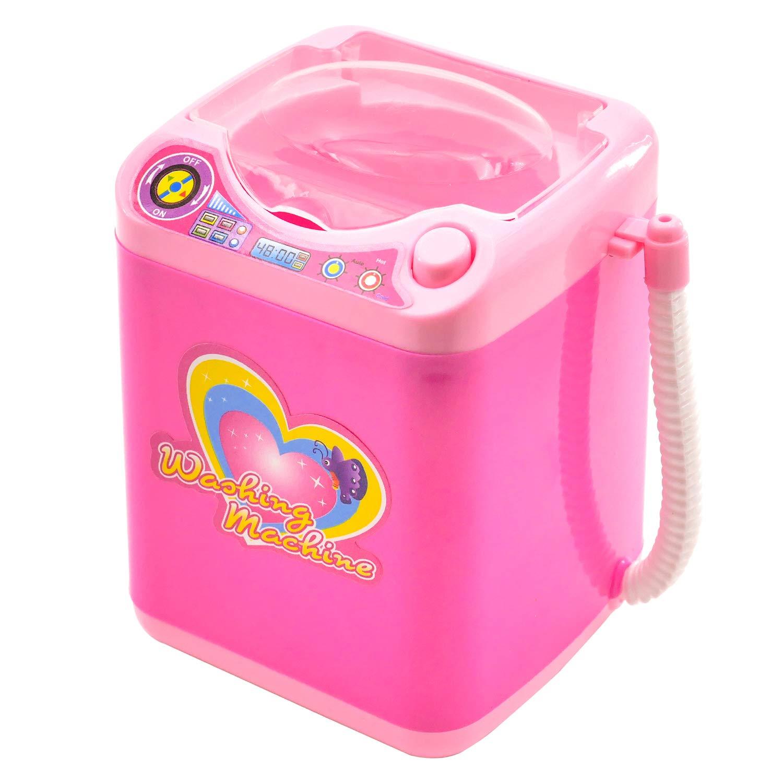 KRISMYA Mini Beauty Blender Washing Machine,Mini Pink Makeup Brush Cleaner Device Plastic Electric Automatic Washing Machine Sponge Cleaning Tool Toy for Girls Ladies