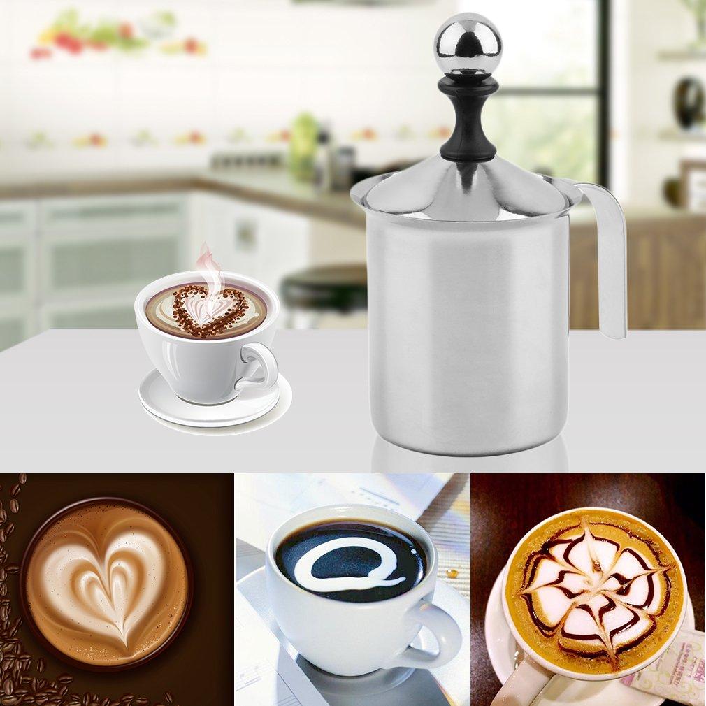 Silber ML leoboone PREUP hei/ßer gro/ße Kapazit/ät von 400cc Edelstahl Double Mesh Foamer DIY Fancy Kaffee Creme Milchaufsch/äumer 400CC