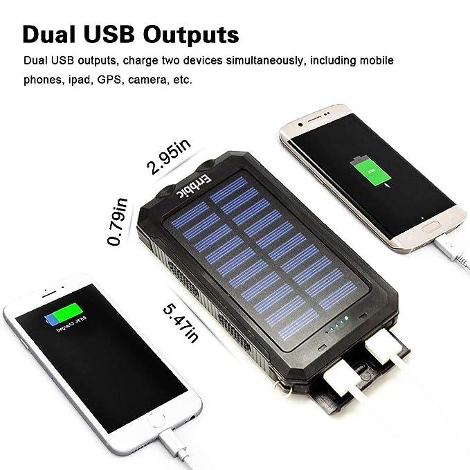 Amazon.com: Cargador solar portátil con batería externa USB ...