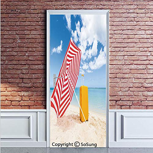 Yellow and Blue Door Wall Mural Wallpaper Stickers,Windy Sandy Beach with Sunshade and Trolley Summer Holiday Relax Picture,Vinyl Removable 3D Decals 35.4x78.7/2 Pieces Set,for Home Decor -