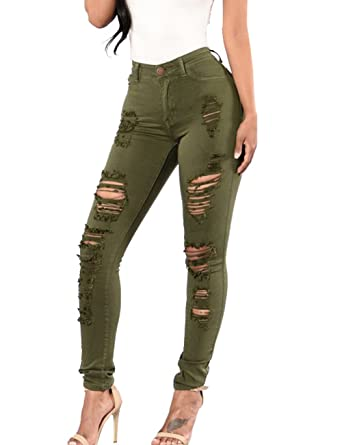 9b755a06d5a Sexyshine Women s High Waisted Distressed Ripped Hole Denim Pants Plus Size  Pencil Jeans(AG