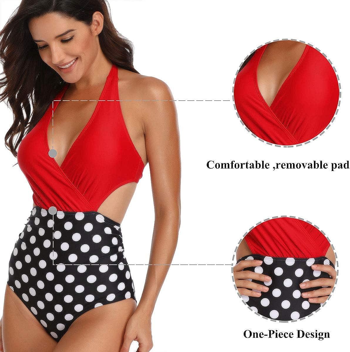 WinCret Women Swimming Costume V-Neck Halter High Waist Swimsuit One Piece Monokini Swimwear Beach Bathing Suits