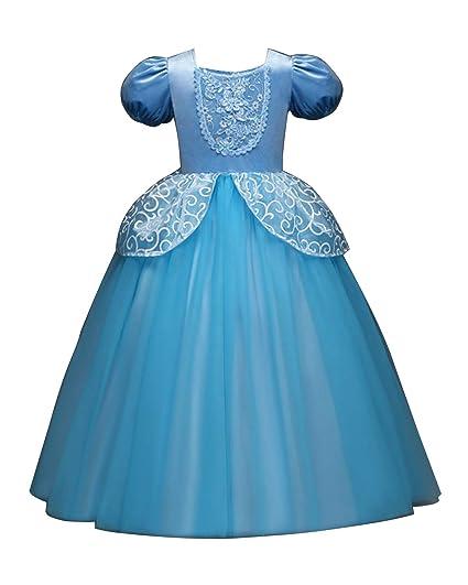 ca088a386ff Eleasica Fille Robe de Princesse Cendrillon Costume Enfants Manches Courtes  Bouffante Dentelle Tutu Tulle Robe Longue