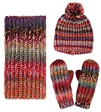 Women's Winter Warm 3PC Cable Knit Gloves Scarf Beanie Hat Set, Space Dye