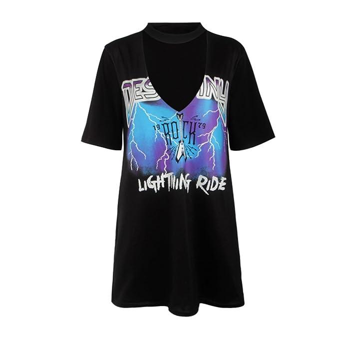 Amazon.com: Eloise Isabel Fashion Preto t shirt dress punk rock anéis da estrada impresso manga curta summer dress sexy profundo decote em v low cut casual ...