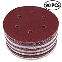 "LotFancy 6"" 6-Hole Sanding Discs Sandpaper Hook and Loop Pads 40/60/80/100/120/180/240/320/400/800 Assorted Grits"