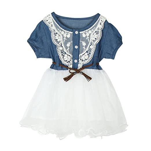 86936f6bdf35 Sunbona Little Baby Girls Denim Short Sleeve Dress Summer Princess Lace  Tutu Dresses Casual Party Outfit Clothes 1~5T