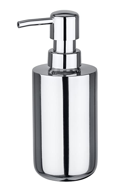 Wenko Onna Dosificador de Jabón 0.24 L, Acero Inoxidable, Plata Brillante, 7x8x17 cm