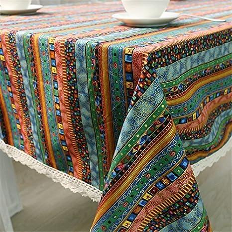 miruike Bohemia mantel algodón lino rectangular mantel de rayas ...