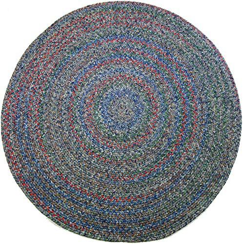 Sonya Indoor/Outdoor Round Reversible Braided Rug, 6-Feet, Denim Multicolor from RRI Home Decor
